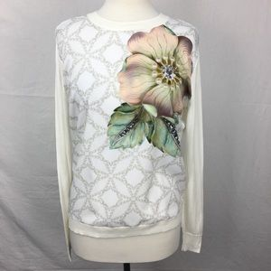 Ted Baker Belie Flower & Pearl Mixed Media Sweater